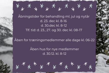 Åbningstider ml. jul og nytår